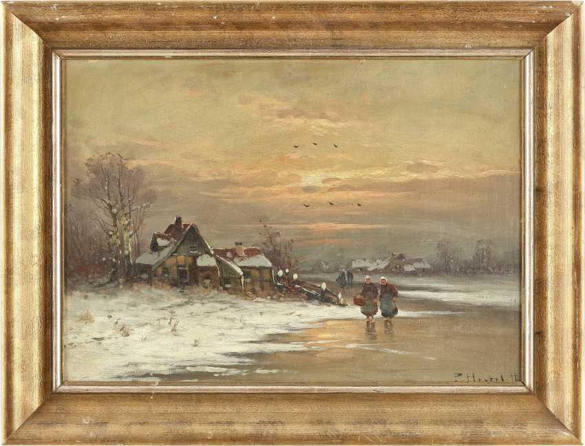 P. HERTEL Tätig 1. Hälfte 20. Jahrhundert Abendstimmung am Dorfweiher - photo 2