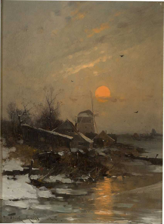 HEINZ FLOCKENHAUS 1856 Remscheid - 1919 Düsseldorf Winterlandschaft mit Mühle im Sonnenuntergang - photo 1