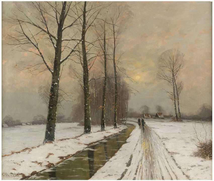 W. WESSLING Tätig 1. Hälfte 20. Jahrhundert Winterspaziergang am Bach - photo 1