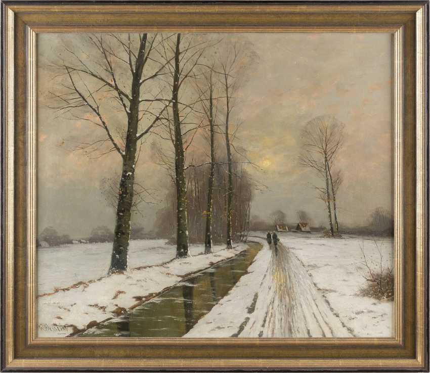 W. WESSLING Tätig 1. Hälfte 20. Jahrhundert Winterspaziergang am Bach - photo 2