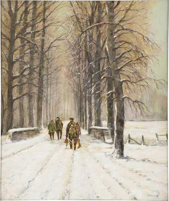 KARL TERNER 1921 - 1982 (tätig in Düsseldorf) Vier Jäger in verschneiter Allee - photo 1