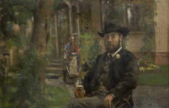 HANS OLAF HEYERDAHL 1857 Smedjebacken - 1913 Kristiana Im Biergarten - Foto 1
