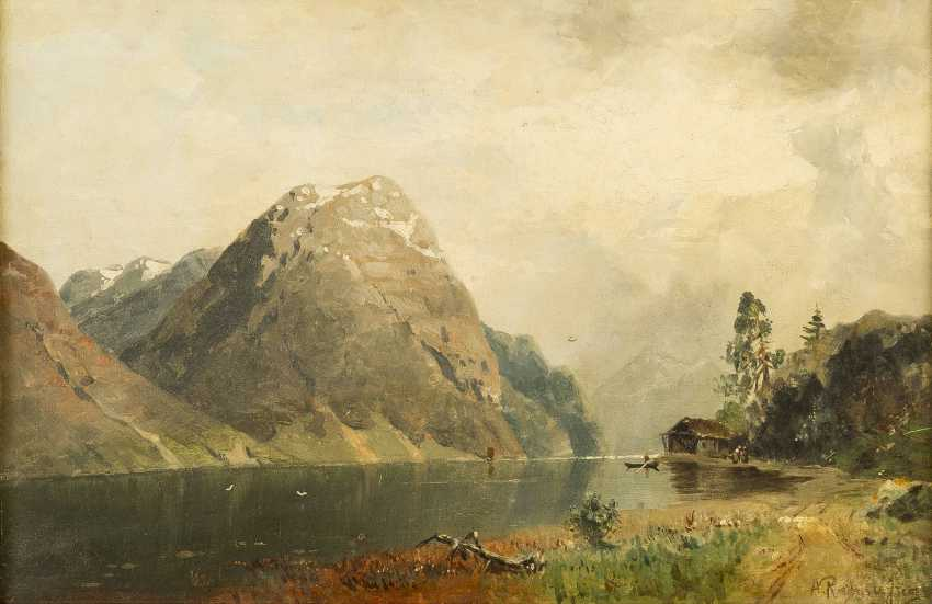 GEORG ANTON RASMUSSEN 1842 Stavangen - 1914 Berlin Sommerliche Fjordlandschaft - photo 1
