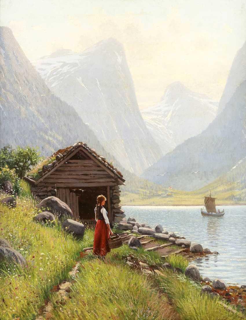 HANS DAHL 1849 Granvin - 1937 Sogn Junges Mädchen am Ufer eines sommerlichen Fjords - photo 1
