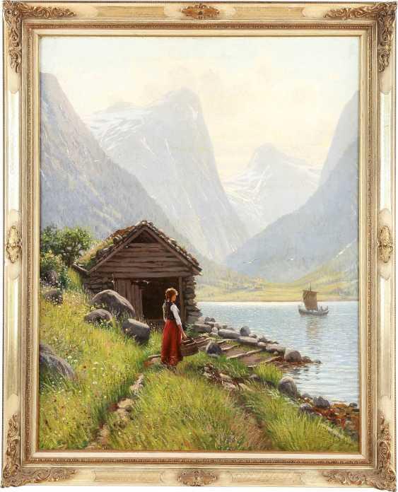 HANS DAHL 1849 Granvin - 1937 Sogn Junges Mädchen am Ufer eines sommerlichen Fjords - photo 2