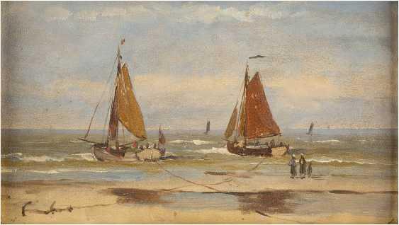 KONVOLUT ZWEIER GEMÄLDE: (1) JULIUS HINTZ (C. 1805-1862); (2) GERARD KOECKOEK (ATTR.) (1871-1956) Dampfschiff am Strand (1); Zwei Segelboote (2) - photo 1