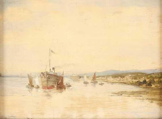 KONVOLUT ZWEIER GEMÄLDE: (1) JULIUS HINTZ (C. 1805-1862); (2) GERARD KOECKOEK (ATTR.) (1871-1956) Dampfschiff am Strand (1); Zwei Segelboote (2) - photo 3