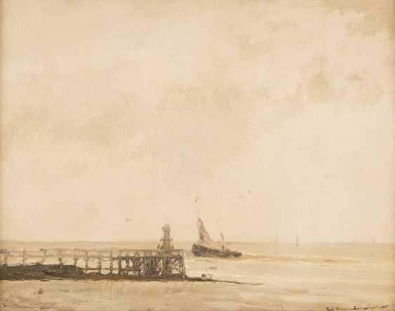 WILHELM HAMBÜCHEN (ATTR.) 1869 Düsseldorf - 1939 ebenda Blick auf das Meer mit kleinem Segelboot - photo 1