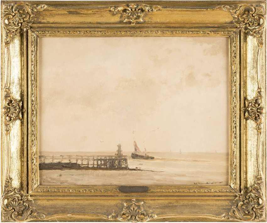 WILHELM HAMBÜCHEN (ATTR.) 1869 Düsseldorf - 1939 ebenda Blick auf das Meer mit kleinem Segelboot - photo 2