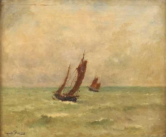 MARIE AUGUSTE FLAMENG 1843 - 1893 Segelboote auf offenem Meer - photo 1