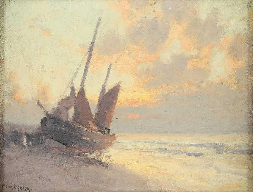 HENK DEKKER 1897 - 1974 Segelboot am Strand im Abendlicht - photo 1