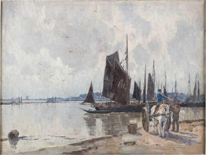 WILHELM HAMBÜCHEN 1869 Düsseldorf - 1939 ebenda Im Hafen - photo 1