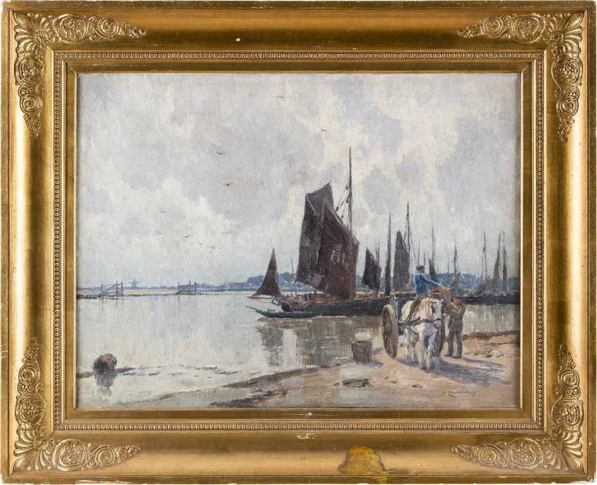 WILHELM HAMBÜCHEN 1869 Düsseldorf - 1939 ebenda Im Hafen - photo 2