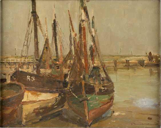 GEORG HAMBÜCHEN 1901 Düsseldorf - 1971 ebenda Boote im Hafen - photo 1