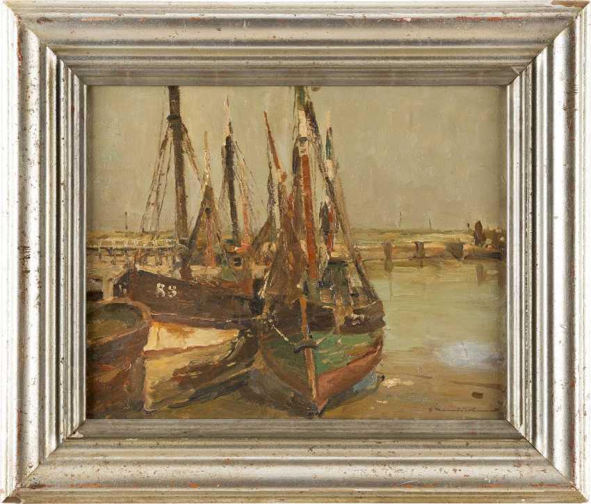 GEORG HAMBÜCHEN 1901 Düsseldorf - 1971 ebenda Boote im Hafen - photo 2