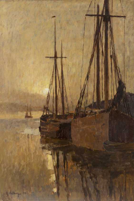 RUDOLF HELLWAG 1867 - 1942 Schiffe bei Sonnenuntergang - photo 1