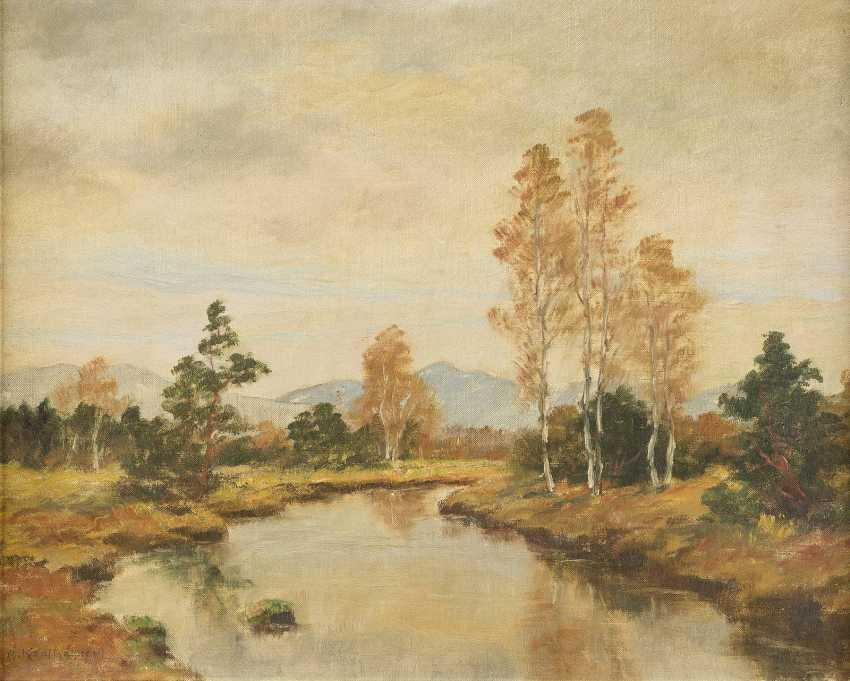 ADOLF KAPFHAMMER 1867 München - c.1911 Ebenda Flusslandschaft im Herbst - photo 1