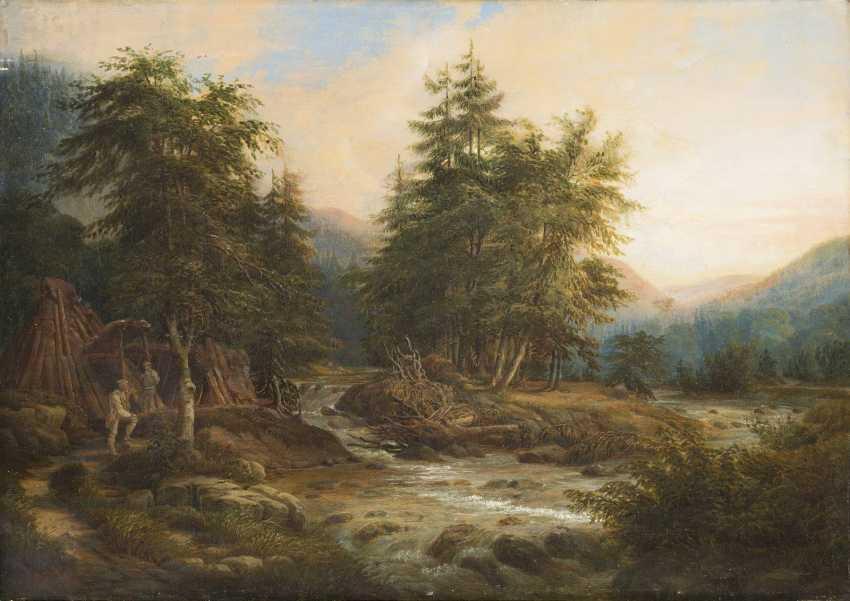 SÜDDEUTSCHER MALER Tätig Mitte 19. Jahrhundert Am Wildbach im Gebirge - photo 1