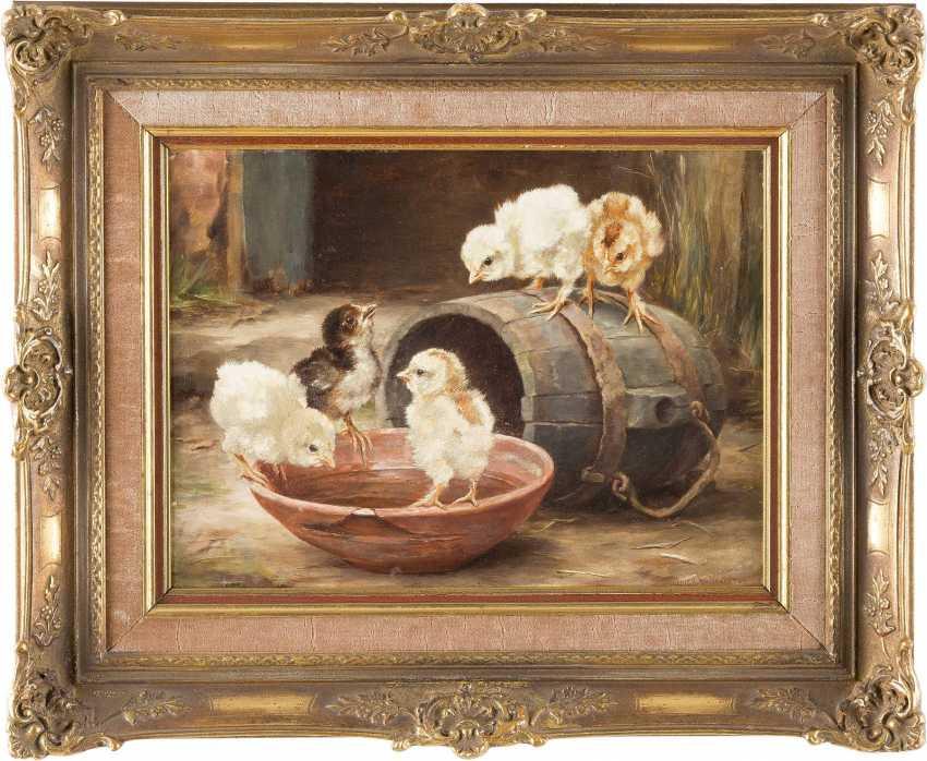 LUCY ANN LEAVERS Tätig um 1900 Küken um ein Fass ('Chicks by a barrel') - photo 2