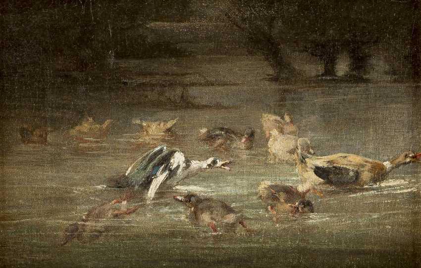 MERY Tätig um 1880 Enten auf dem Weiher - photo 1