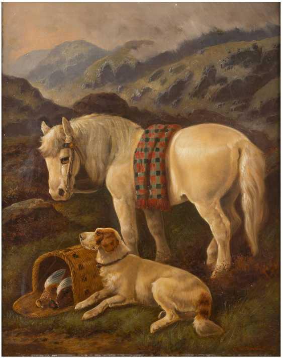 BRITISCHER TIERMALER Tätig 2. Hälfte 19. Jahrhundert Kaltblut und Jagdhund im schottischen Hochland - photo 2