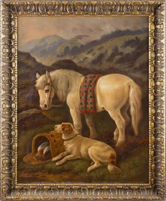 BRITISCHER TIERMALER Tätig 2. Hälfte 19. Jahrhundert Kaltblut und Jagdhund im schottischen Hochland - photo 1