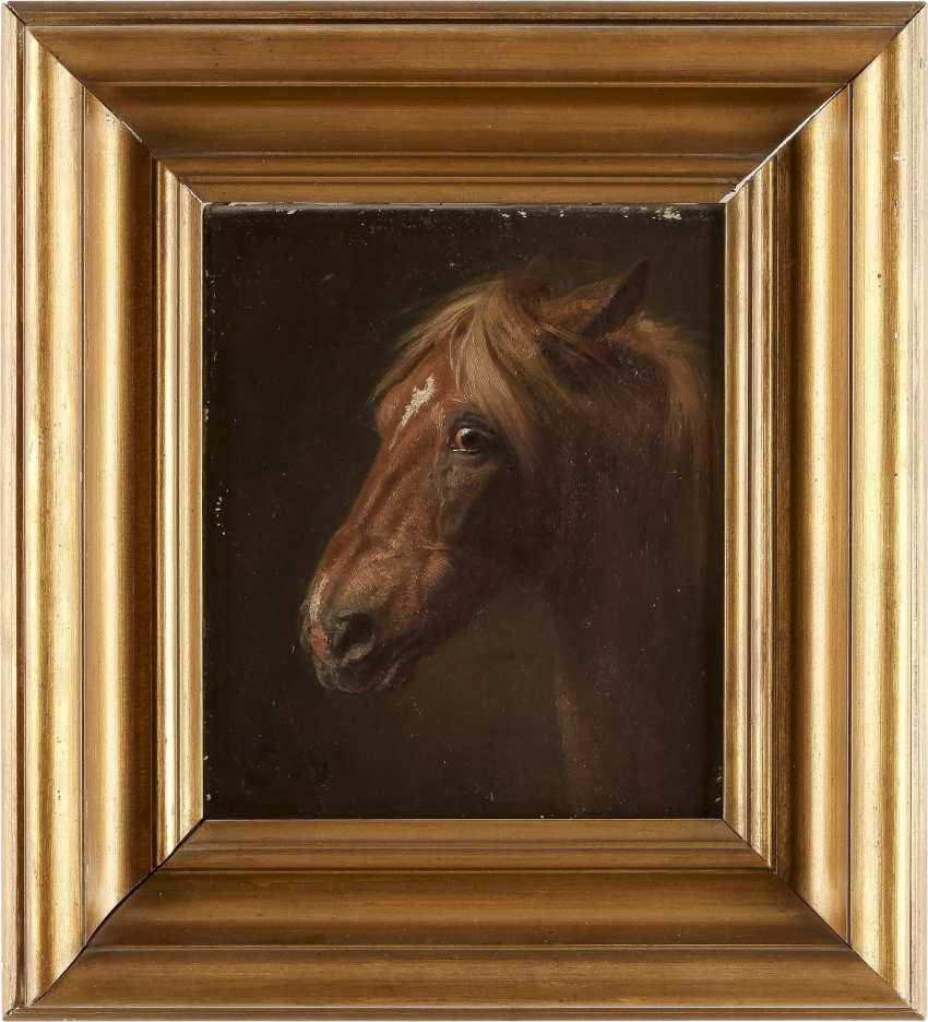 WILHELM CAMPHAUSEN Düsseldorf 1818 - 1885 Detailstudie eines Pferdekopfes - photo 2
