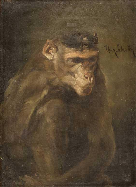 NIEDERLÄNDISCHER MEISTER Tätig um 1850 Grübelnder Affe - photo 1