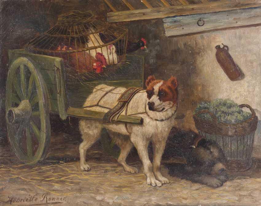 HENRIETTE RONNER-KNIPP (IN DER ART VON) 1821 Amsterdam - 1909 Brüssel Zwei Hunde ziehen einen Karren mit Hennen - photo 1