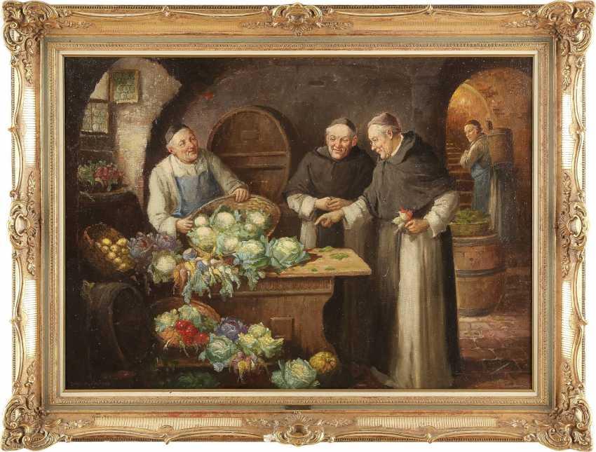 CONSTANTIN (KONSTANTIN) STOITZNER 1863 Busau - 1934 Wien Mönche in der Klosterküche - photo 2