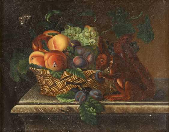 SÜDDEUTSCH/ÖSTERREICHISCHER STILLLEBENMALER Tätig um 1900 Früchtestillleben mit Eichhörnchen - photo 1
