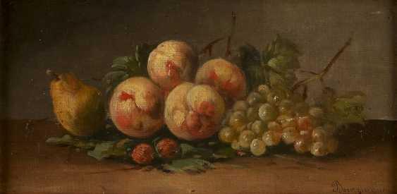 MAURICE-JEAN BOURGUIGNON (ATTR.) 1877 Frankreich - 1925 Konstantinopel Früchtestillleben mit Pfirsichen, Birne und Trauben - photo 1