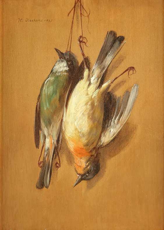 HENDRIK REEKERS (NACHFOLGE) 1815 Haarlem - 1854 ebenda Zwei Trompe-l`oeil mit toten Spatzen - photo 1