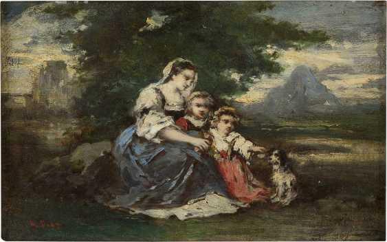 NARCISSE VIRGILIO DIAZ DE LA PENA (ATTR.) 1807 Bordeaux - 1876 Menton Mutter mit ihren Kindern - photo 1
