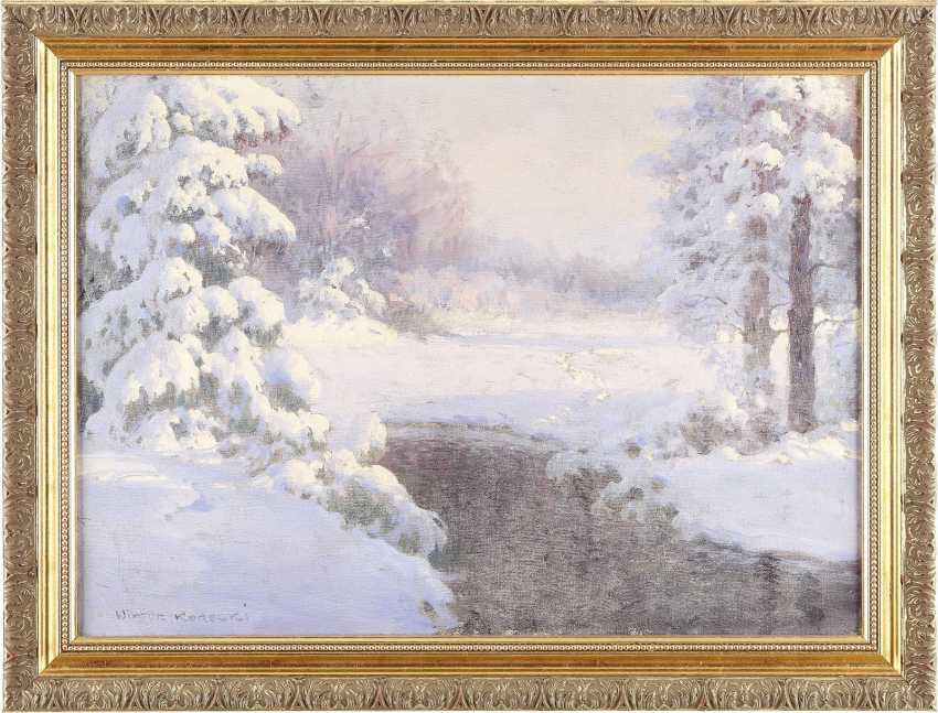 WIKTOR KORECKI 1890 - 1980 Wínterlandschaft mit Bachlauf - photo 2