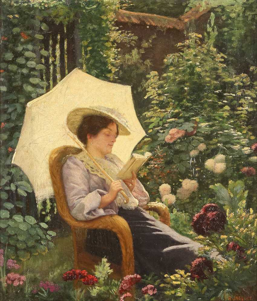 HENRY LÉON JACQUET 1856 Anzin Lesende Dame in blühendem Garten - photo 1
