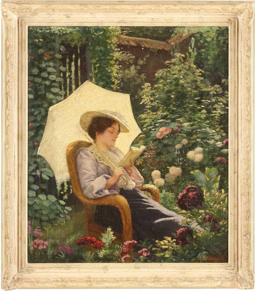HENRY LÉON JACQUET 1856 Anzin Lesende Dame in blühendem Garten - photo 2
