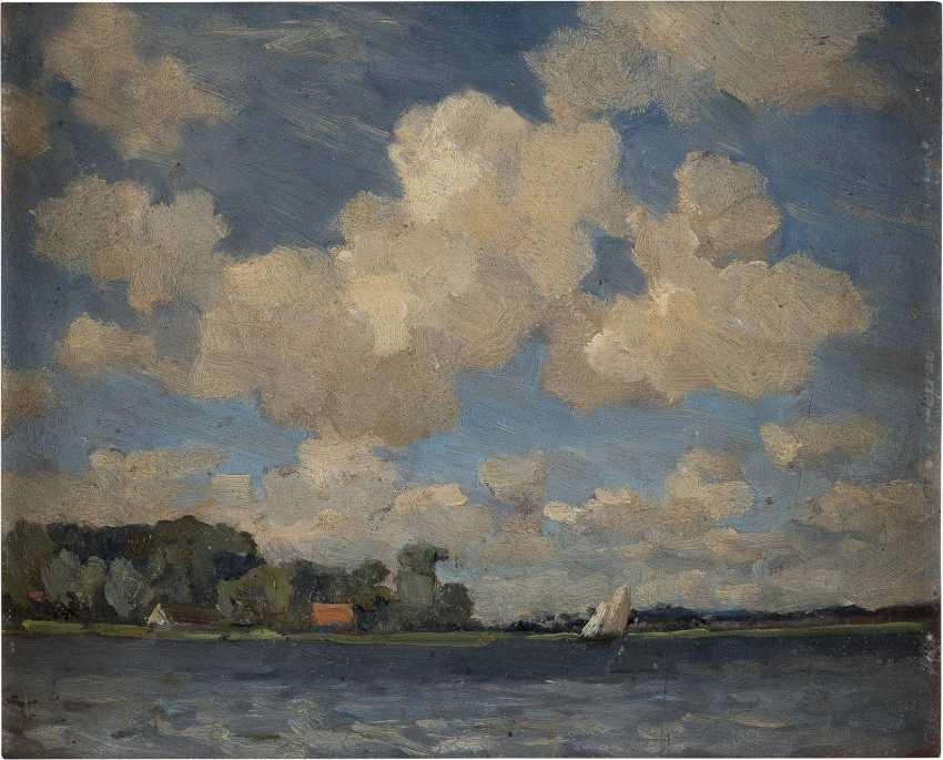 NIEDERLÄNDISCHER IMPRESSIONIST Tätig 1. Hälfte 20. Jahrhundert Wolkenstudie über Gewässer - photo 1