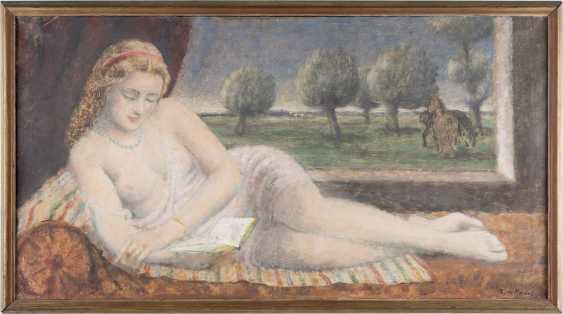 ADOLF DE HAER 1892 Düsseldorf - 1945 Osnabrück Liegender weiblicher Halbakt bei der Lektüre - photo 2