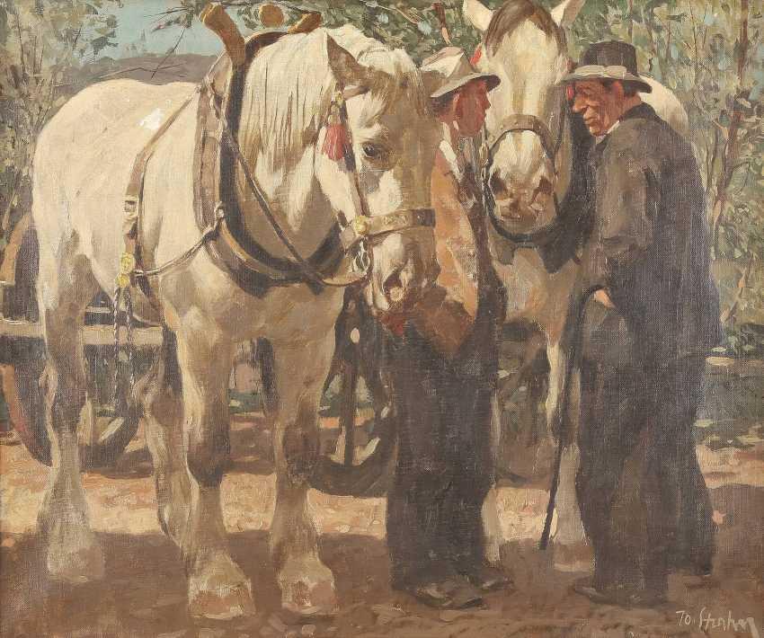 PETER JOSEF STRAHN 1904 Düren - 1997 Düsseldorf Zwei Herren mit Pferdegespann - photo 1