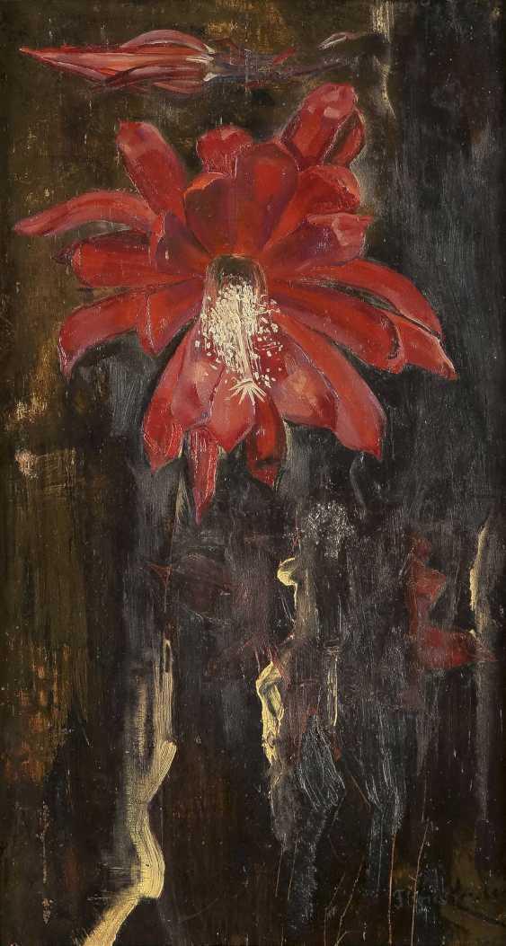 FLORIS VERSTER 1861 Leiden - 1927 ebenda Blumenstillleben Öl auf Eichenholztafel. 42,5 cm x 23 cm. Unten rechts signiert 'Floris Verster'. Part. mit Farbverlusten. Rahmen. - photo 1