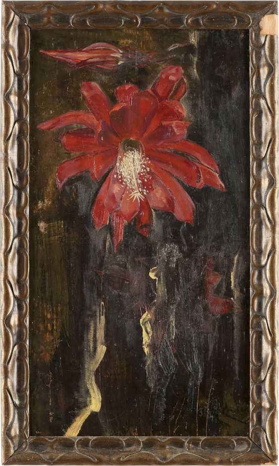 FLORIS VERSTER 1861 Leiden - 1927 ebenda Blumenstillleben Öl auf Eichenholztafel. 42,5 cm x 23 cm. Unten rechts signiert 'Floris Verster'. Part. mit Farbverlusten. Rahmen. - photo 2