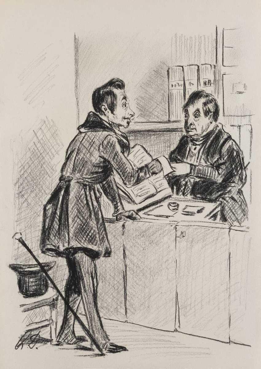 DEUTSCHER ZEICHNER Tätig 1. Hälfte 20. Jahrhundert ZWEI MAPPEN MIT ZEICHNUNGEN NACH DAUMIER - photo 1