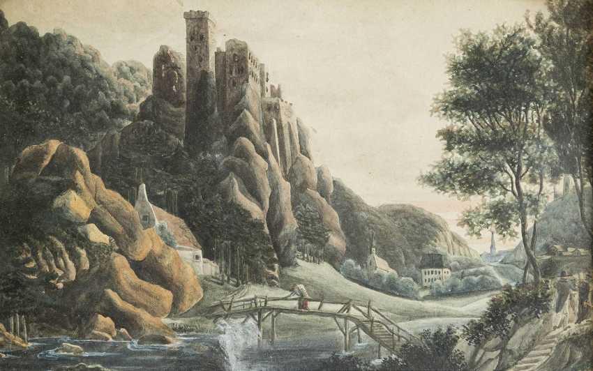 UNBEKANNTE AQUARELLISTEN Tätig im 19. Jahrhundert 2 LANDSCHAFTEN - photo 1