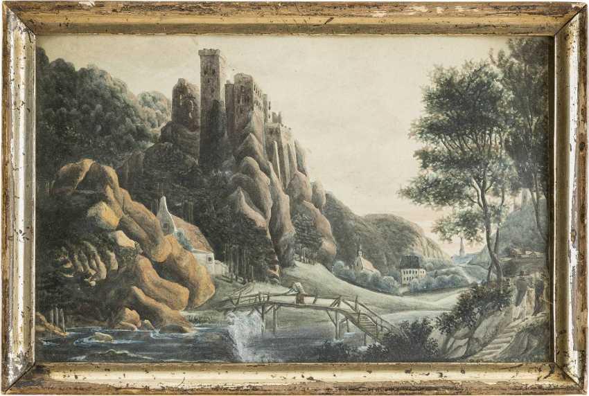 UNBEKANNTE AQUARELLISTEN Tätig im 19. Jahrhundert 2 LANDSCHAFTEN - photo 2