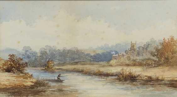 W. T. BATES Englischer Aquarellist, tätig 2. Hälfte 19. Jahrhundert Flusslandschaft mit einem Angler - photo 1