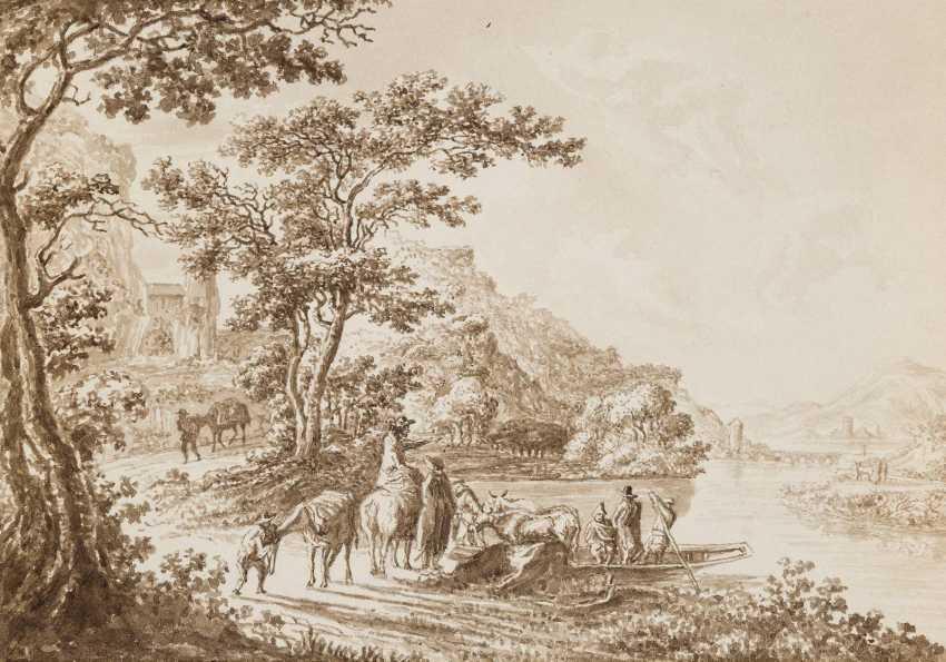 DEUTSCHE LANDSCHAFTSMALER Tätig im 19. Jahrhundert 5 LANDSCHAFTEN MIT FIGURENSTAFFAGE - photo 2