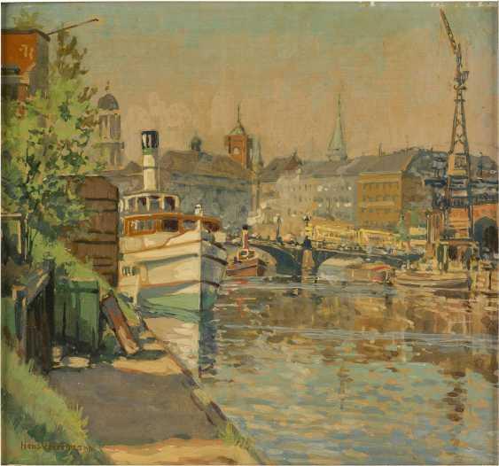 HANS HERRMANN 1858 Berlin - 1942 ebenda Stadt am Kanal mit Dampfschiffen - photo 1