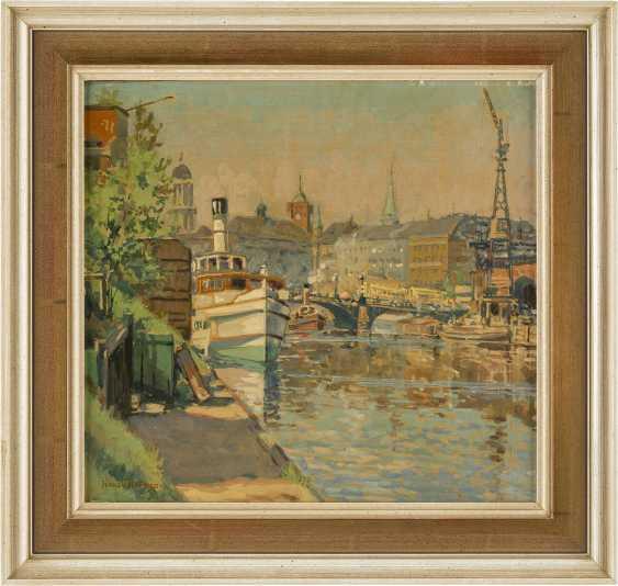 HANS HERRMANN 1858 Berlin - 1942 ebenda Stadt am Kanal mit Dampfschiffen - photo 2