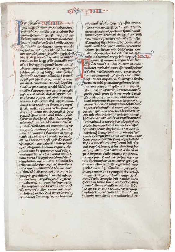 EINZELSEITE AUS EINER BIBEL Frankreich, 15. Jahrhundert - photo 1